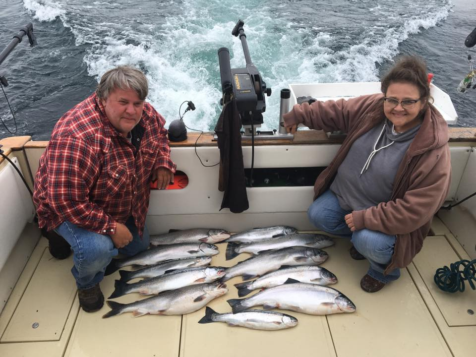 A nice catch of salmon and trout on one of or Kewaunee fishing charters